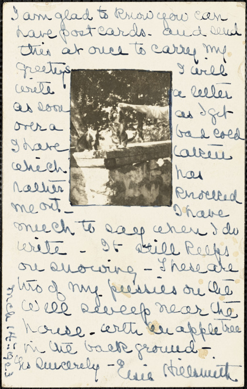 Elise Hillsmith autographed note (postcard) signed to Bartolomeo Vanzetti, South Danbury, N.H., 14 March 1923
