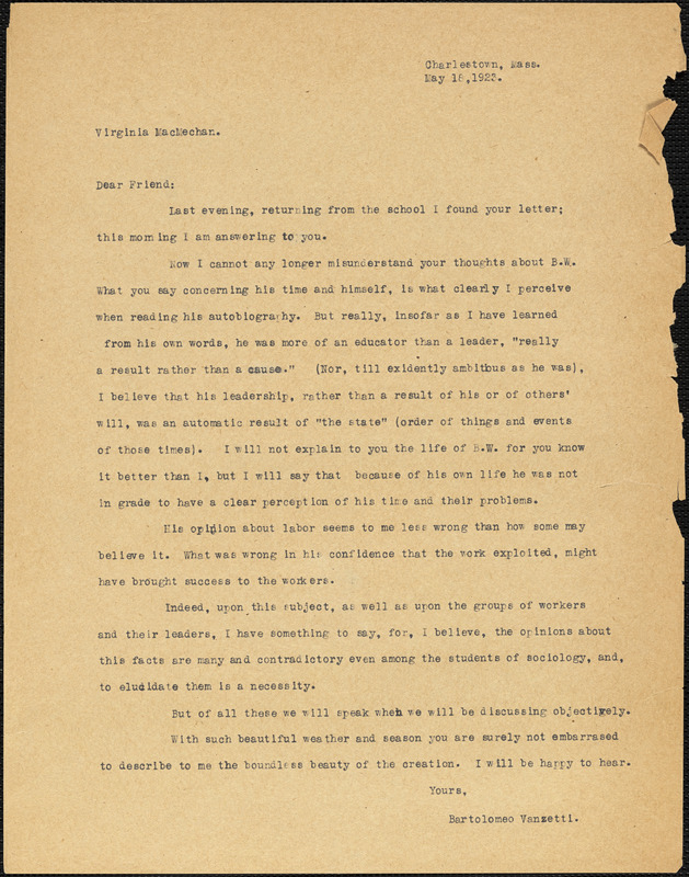 Bartolomeo Vanzetti typed letter (copy) to Virginia A. MacMechan, Charlestown, 18 May 1923