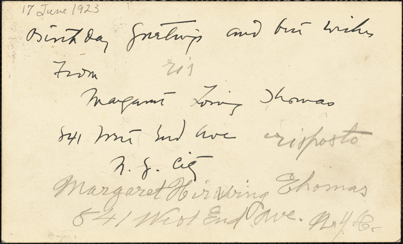 Margaret [Loring?] Thomas autographed note (postcard) signed to Bartolomeo Vanzetti, New York, 17 June 1923