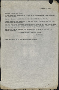 Bartolomeo Vanzetti typed letter (copy) to Elizabeth Glendower Evans, [Charlestown], 3 August 1923