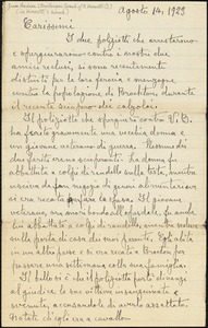 Andrea Bevilacqua [pseudonym of Bartolomeo Vanzetti?] manuscript letter signed (in Vanzetti's hand), to friends, [Charlestown], 14 August 1923