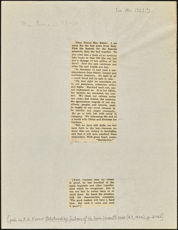 Bartolomeo Vanzetti printed extracts from two letters to [Elizabeth Glendower Evans], [Charlestown, November 1923?]