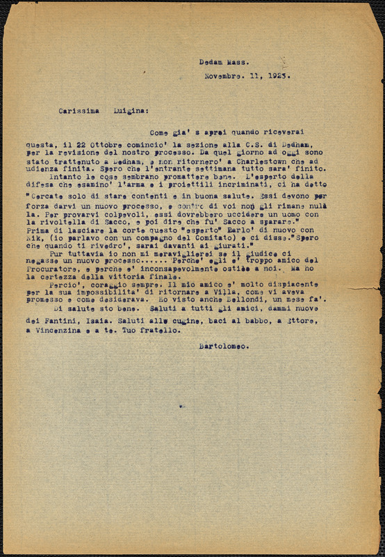 Bartolomeo Vanzetti typed letter (copy) to Luigia Vanzetti, Dedham, 11 November 1923