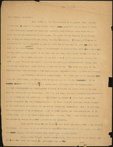 Bartolomeo Vanzetti typed letter (copy) to Alice Stone Blackwell, [Charlestown], 24 January 1924