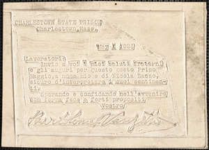 "Bartolomeo Vanzetti embossed card to ""Lavoratori"", Charlestown State Prison, 1 May 1924"