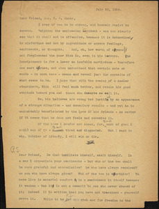 Bartolomeo Vanzetti typed letter (copy) to Cerise Jack, [Charlestown], 20 July 1924