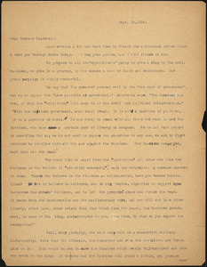 Bartolomeo Vanzetti typed letter (incomplete copy) to Alice Stone Blackwell, [Charlestown], 19 September 1924