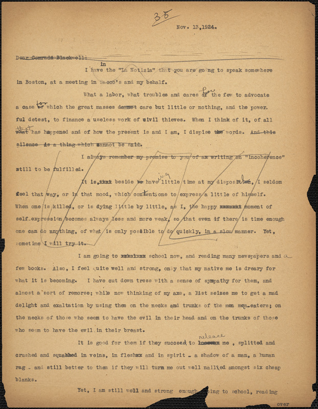 Bartolomeo Vanzetti typed letter (copy) to Alice Stone Blackwell, [Charlestown], 13 November 1924
