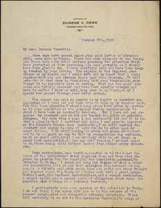 Eugene V. Debs typed letter signed to Bartolomeo Vanzetti, Terre-Haute, Ind., 8 January 1925