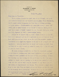 Eugene V. Debs typed letter signed to Bartolomeo Vanzetti, Terre-Haute, Ind., 7 March 1925