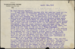 Eugene V. Debs typed letter signed to Bartolomeo Vanzetti, Terre-Haute, Ind., 9 April 1925