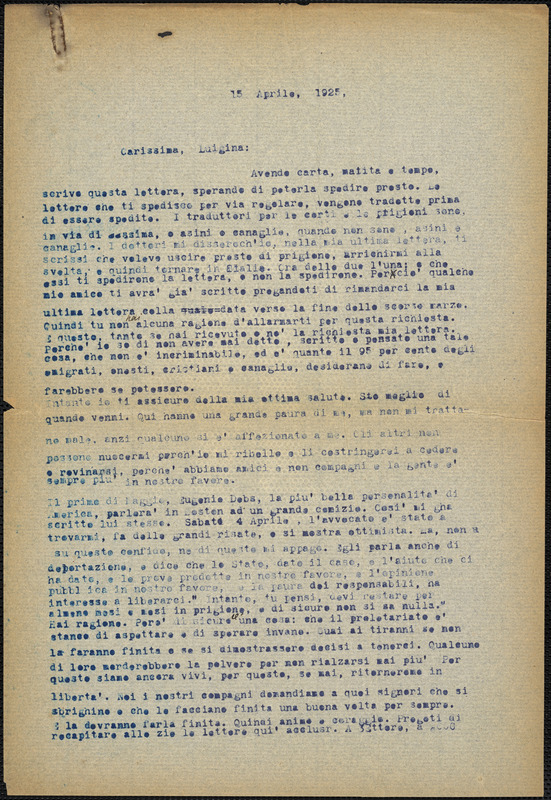 Bartolomeo Vanzetti typed letter (copy) to Luigia Vanzetti, [Bridgewater Hospital for the State Criminally Insane], 15 April 1925
