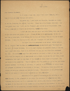 Bartolomeo Vanzetti typed letter (incomplete copy) to Alice Stone Blackwell, [Charlestown], 7 May 1925