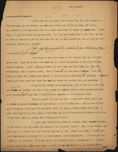 Bartolomeo Vanzetti typed letter (copy) to Alice Stone Blackwell, [Charlestown], 11 May 1925