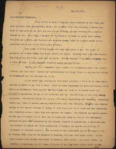 Bartolomeo Vanzetti typed letter (copy) to Alice Stone Blackwell, [Charlestown], 28 May 1925