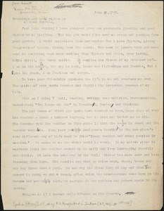 Bartolomeo Vanzetti typed letter (copy) to [Irene Benton] [Charlestown], 20 June 1925