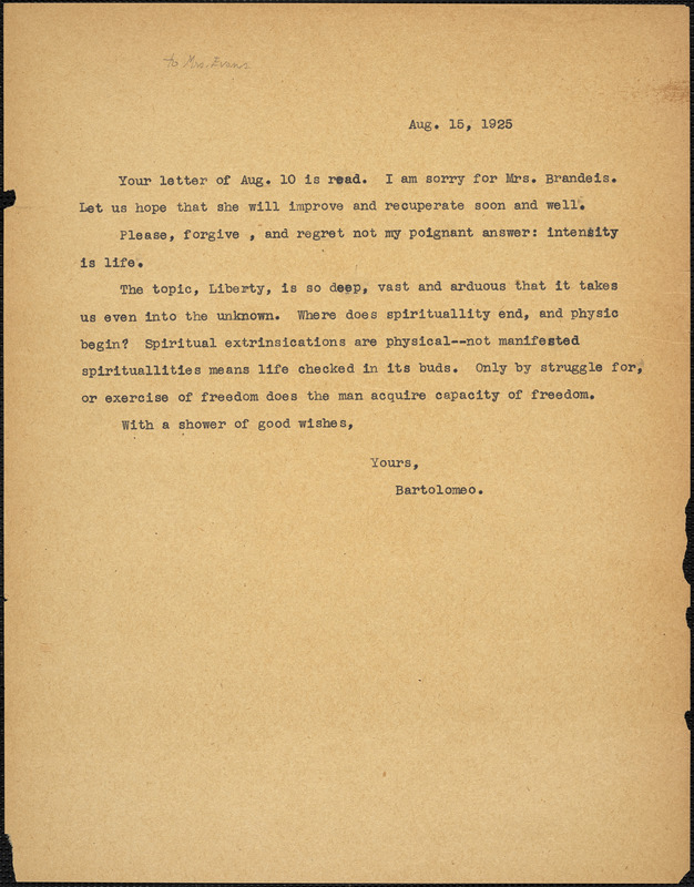 Bartolomeo Vanzetti typed note (copy) to [Elizabeth Glendower Evans], [Charlestown], 16 August 1925
