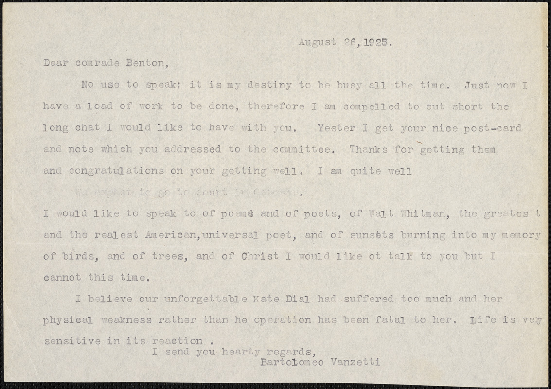 Bartolomeo Vanzetti typed letter (copy) to Irene Benton, [Charlestown], 26 August 1925