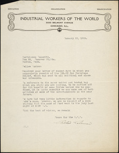 Arthur Coleman typed letter signed to Bartolomeo Vanzetti, Chicago, 22 January 1926