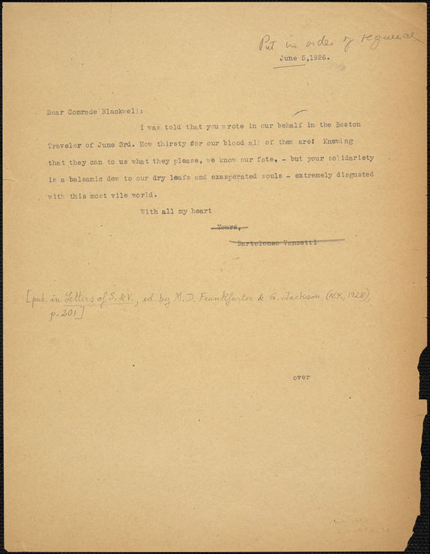 Bartolomeo Vanzetti typed note (copy) to Alice Stone Blackwell, [Charlestown], 5 June 1926 ; Bartolomeo Vanzetti typed note to Alice Stone Blackwell, [Charlestown], 21 May 1926