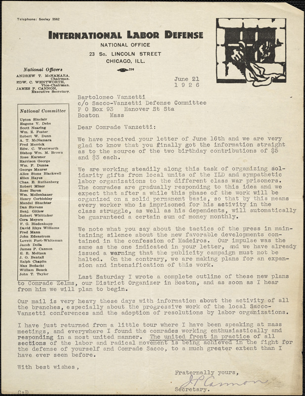 James P. Cannon typed letter signed to Bartolomeo Vanzetti, Chicago, 21 June 1926