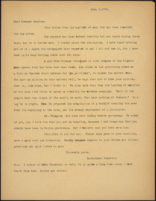 Bartolomeo Vanzetti typed letter (copy) to Mary Donovan, [Charlestown], 5 August 1926