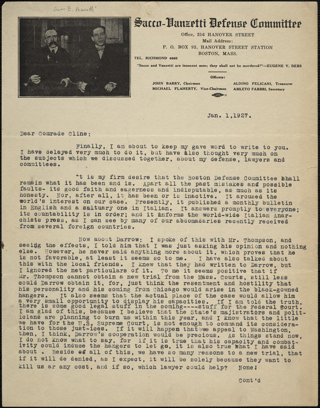 "Bartolomeo Vanzetti typed letter signed to ""Dear Comrade Cline"", [Charlestown], 1 January 1927"