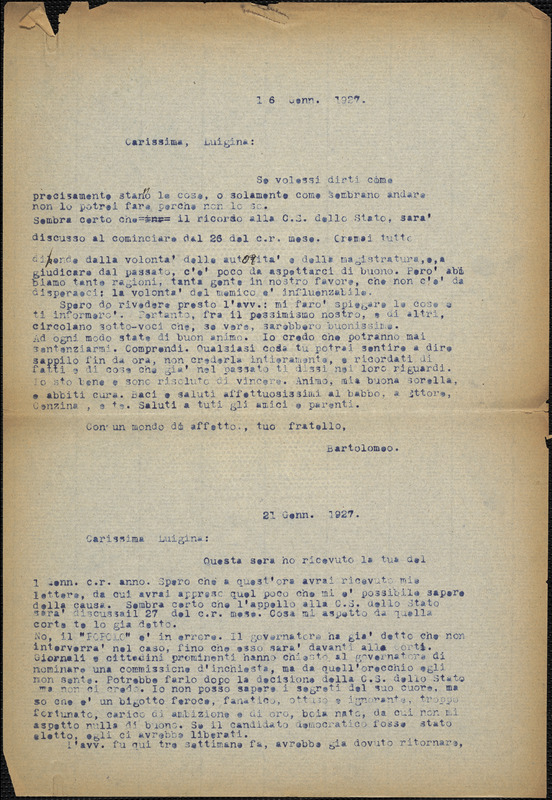 Bartolomeo Vanzetti typed letter (copy) to Luigia Vanzetti, [Charlestown], 16 January 1927 ; Bartolomeo Vanzetti typed letter (copy) to Luigia Vanzetti, [Charlestown], 21 January 1927
