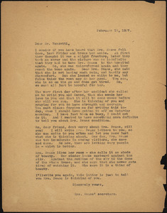 Anna Bloom typed letter (copy) to Bartolomeo Vanzetti, [Boston], 15 February 1927