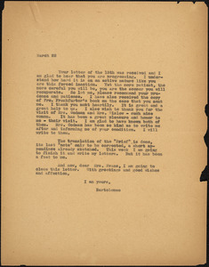 Bartolomeo Vanzetti typed letter (copy) to [Elizabeth Glendower Evans], [Charlestown], 22 March 1927