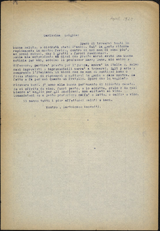 Bartolomeo Vanzetti typed letter (copy) to Luigia Vanzetti, [Dedham, 1927 April]