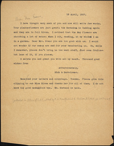 Bartolomeo Vanzetti typed letter (copy) to [Elizabeth Glendower Evans], [Dedham], 19 April 1927