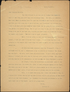 Bartolomeo Vanzetti typed letter (copy) to Roger N. Baldwin, [Dedham], 24 April 1927
