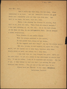 Bartolomeo Vanzetti typed letter (copy) to Cerise Jack, [Dedham], 7 May 1927