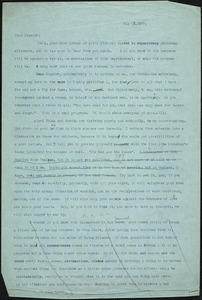 Bartolomeo Vanzetti typed letter (copy) to Francis H. Bigelow, [Dedham], 15 May 1927