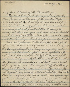 Bartolomeo Vanzetti autographed letter signed to the Sacco-Vanzetti Defense Committee, [Dedham], 24 May 1927