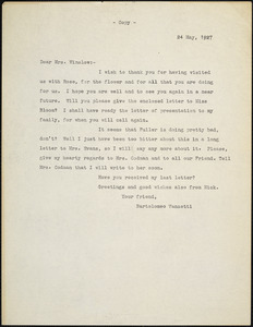 Bartolomeo Vanzetti typed letter (copy) to Gertrude L. Winslow, [Dedham], 24 May 1927