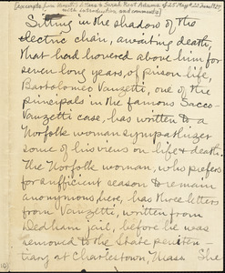 Bartolomeo Vanzetti manuscript excerpts to Sarah Root Adams, 25 May and 22 June 1927 ; Bartolomeo Vanzetti manuscript excerpts to Sarah Root Adams, Dedham, 22 May 1927