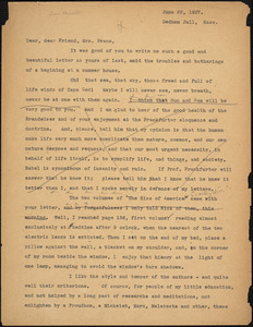 Bartolomeo Vanzetti to Elizabeth Glendower Evans, Dedham, 22 June 1927
