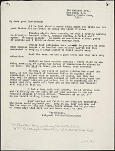 Warren Starr Van Valkenburgh typed letter (copy) to Bartolomeo Vanzetti, New York, 24 June 1927