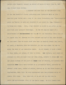 Bartolomeo Vanzetti typed letter (copy) to Bruce Bliven, [Charlestown], 1 July 1927