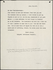 Bartolomeo Vanzetti typed note (copy) to Warren Starr Van Valkenburgh, [Charlestown], 14 July 1927