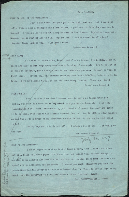 Bartolomeo Vanzetti typed note (copy) to Friends of the Committee