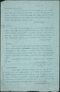 Bartolomeo Vanzetti typed note (copy) to Friends of the Committee, [Charlestown], 14 July 1927