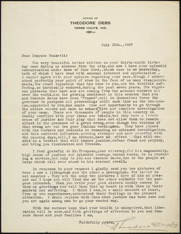 Theodore Debs typed letter signed to Bartolomeo Vanzetti, Terre Haute, Ind., 15 July 1927