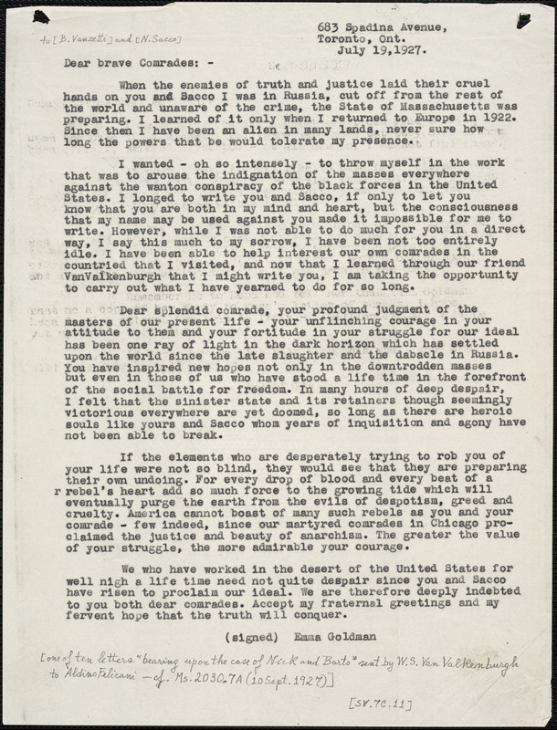 Emma Goldman typed letter (copy) to Bartolomeo Vanzetti and Nicola Sacco, Toronto, Ont., 18 July 1927