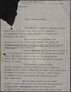 Bartolomeo Vanzetti typed excerpts from a letter to the [Sacco-Vanzetti Defense Committee], [Charlestown, 20 July 1927?]