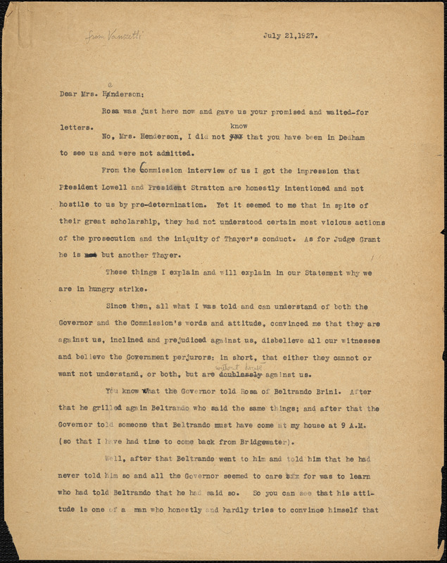 Bartolomeo Vanzetti typed letter (copy) to Jessica Henderson, [Charlestown], 21 July 1927