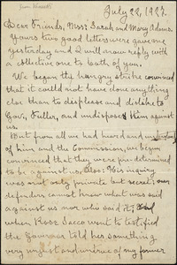 Bartolomeo Vanzetti autographed letter signed to Sarah Root Adams and Mary Leland Adams, [Charlestown], 22 July 1927