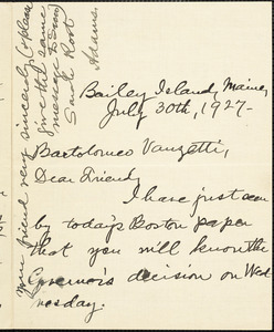 Sarah Adams Root autographed letter signed to Bartolomeo Vanzetti, Bailey Island, Me., 30 July 1927